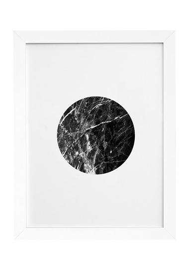 Nordbagen Black Marble Circle Poster Beyaz